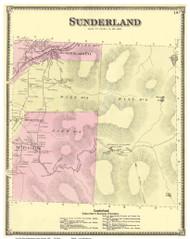 Sunderland, Vermont 1869 Old Town Map Reprint - Bennington Co.