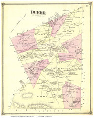 Burke, Vermont 1875 Old Town Map Reprint - Caledonia Co.