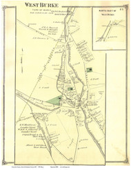 West Burke Village, Vermont 1875 Old Town Map Reprint - Caledonia Co.