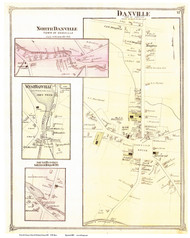 Danville, North Danville, West Danville, and Greenbank Hollow Villages, Vermont 1875 Old Town Map Reprint - Caledonia Co.