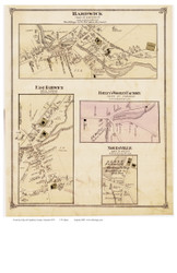 Hardwick, East Hardwick, Noyesville, and Bailey's Woolen Factory Villages, Vermont 1875 Old Town Map Reprint - Caledonia Co.