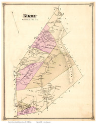 Kirby, Vermont 1875 Old Town Map Reprint - Caledonia Co.