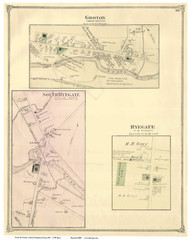 Ryegate, South Ryegate, and Groton Villages, Vermont 1875 Old Town Map Reprint - Caledonia Co.