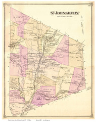 St. Johnsbury, Vermont 1875 Old Town Map Reprint - Caledonia Co.