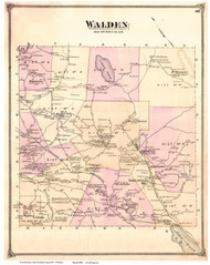 Walden, Vermont 1875 Old Town Map Reprint - Caledonia Co.