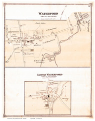 Waterford and Lower Waterford Villages, Vermont 1875 Old Town Map Reprint - Caledonia Co.