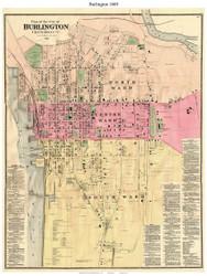 Burlington, Vermont 1869 Old Town Map Reprint - Chittenden Co.
