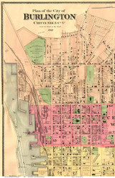 Burlington Downtown, Vermont 1869 Old Town Map Reprint - Chittenden Co.