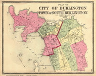 Burlington and South Burlington, Vermont 1869 Old Town Map Reprint - Chittenden Co.