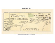 Charlotte Centre and Charlotte Four Corners, Vermont 1869 Old Town Map Reprint - Chittenden Co.