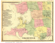 Colchester, Vermont 1869 Old Town Map Reprint - Chittenden Co.