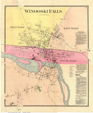 Winooski Falls - Colchester, Vermont 1869 Old Town Map Reprint - Chittenden Co.