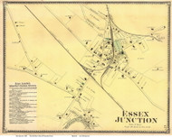 Essex Junction Village, Vermont 1869 Old Town Map Reprint - Chittenden Co.