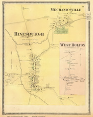 Hinesburgh, Mechanicsville, and West Bolton Villages, Vermont 1869 Old Town Map Reprint - Chittenden Co.