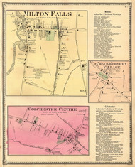 Milton Falls, Checkerberry, and Colchester Centre Villages, Vermont 1869 Old Town Map Reprint - Chittenden Co.