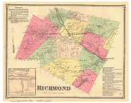 Richmond Town and Jonesville Village, Vermont 1869 Old Town Map Reprint - Chittenden Co.