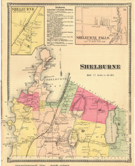 Shelburne Town, Shelburne Falls and Shelburne Villages, Vermont 1869 Old Town Map Reprint - Chittenden Co.