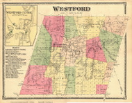 Westford Town and Westford Centre Village, Vermont 1869 Old Town Map Reprint - Chittenden Co.