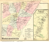 Bakersfield and Bakersfield Village, Vermont 1871 Old Town Map Reprint - Franklin Co.