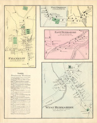 East Berkshire, West Berkshire, Franklin, and East Franklin Villages, Vermont 1871 Old Town Map Reprint - Franklin Co.