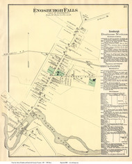 Enosburgh Falls Village, Vermont 1871 Old Town Map Reprint - Franklin Co.