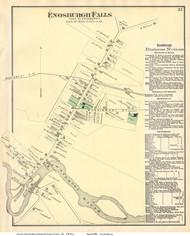 Enosburgh Falls Village, Vermont 1871 Old Town Map Reprint - Franklin Co.