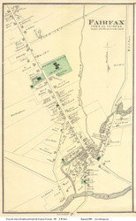 Fairfax Village, Vermont 1871 Old Town Map Reprint - Franklin Co.