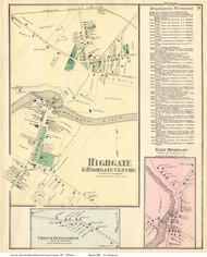 Highgate, Highgate Centre, French Settlement, and East Highgate Villages, Vermont 1871 Old Town Map Reprint - Franklin Co.