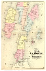 North Hero and Isle La Motte, Vermont 1871 Old Town Map Reprint - Grand Isle Co.