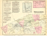 Sheldon Town, East Sheldon and Junction Villages, Vermont 1871 Old Town Map Reprint - Franklin Co.