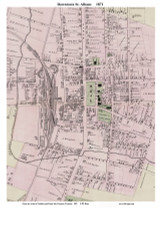 St. Albans Downtown, Vermont 1871 Old Town Map Reprint - Franklin Co.