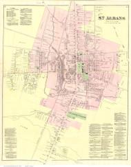 St. Albans Village, Vermont 1871 Old Town Map Reprint - Franklin Co.