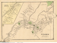 Stowe Village, Vermont 1878 Old Town Map Reprint - Lamoille Co.