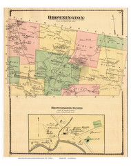 Brownington Town, Brownington Center Village, Vermont 1878 Old Town Map Reprint - Orleans Co.