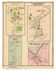 Craftsbury, Mill Village, North Craftsbury, and East Craftsbury Villages, Vermont 1878 Old Town Map Reprint - Orleans Co.