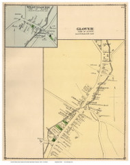 Glover and West Glover Villages, Vermont 1878 Old Town Map Reprint - Orleans Co.