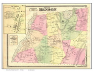 Benson Town and Village, Vermont 1869 Old Town Map Reprint - Rutland Co.