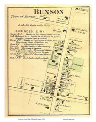 Benson Village, Vermont 1869 Old Town Map Reprint - Rutland Co.