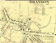 Brandon Village - Closeup, Vermont 1869 Old Town Map Reprint - Rutland Co.