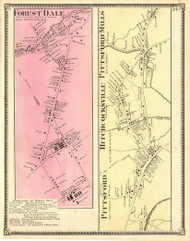 Forest Dale, Pittsford, Hitchcocksville, and Pittsford Mills Villages, Vermont 1869 Old Town Map Reprint - Rutland Co.