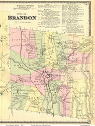 Brandon, Vermont 1869 Old Town Map Reprint - Rutland Co.