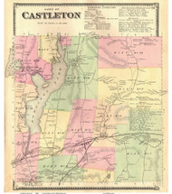 Castleton, Vermont 1869 Old Town Map Reprint - Rutland Co.
