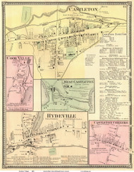 Castleton, Cookville, West Castleton, Hydeville, and Castleton Corners Villages, Vermont 1869 Old Town Map Reprint - Rutland Co.