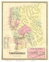 Chittenden Town, South Chittenden Village, Vermont 1869 Old Town Map Reprint - Rutland Co.