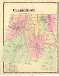 Clarendon, Vermont 1869 Old Town Map Reprint - Rutland Co.