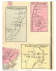 Clarendon, North Clarendon, and Clarendon Springs Villages, Vermont 1869 Old Town Map Reprint - Rutland Co.