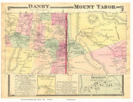 Danby and Mount Tabor Towns, Danby Corners and Brooklyn Villages, Vermont 1869 Old Town Map Reprint - Rutland Co.