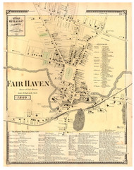 Fairhaven Village, Vermont 1869 Old Town Map Reprint - Rutland Co.