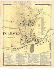 Fairhaven Village Poster, Vermont 1869 Old Town Map Reprint - Rutland Co.