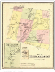 Hubbardton Town, Hortonville Village, Vermont 1869 Old Town Map Reprint - Rutland Co.